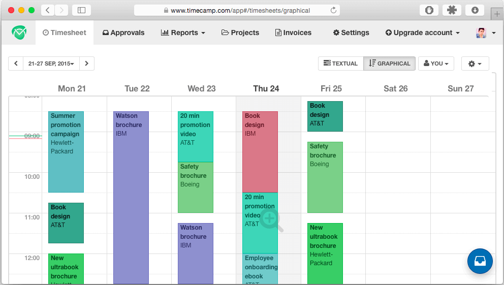 graphical timesheet integrated with calendar