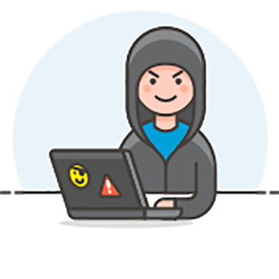graphic with a man hacking on the computer