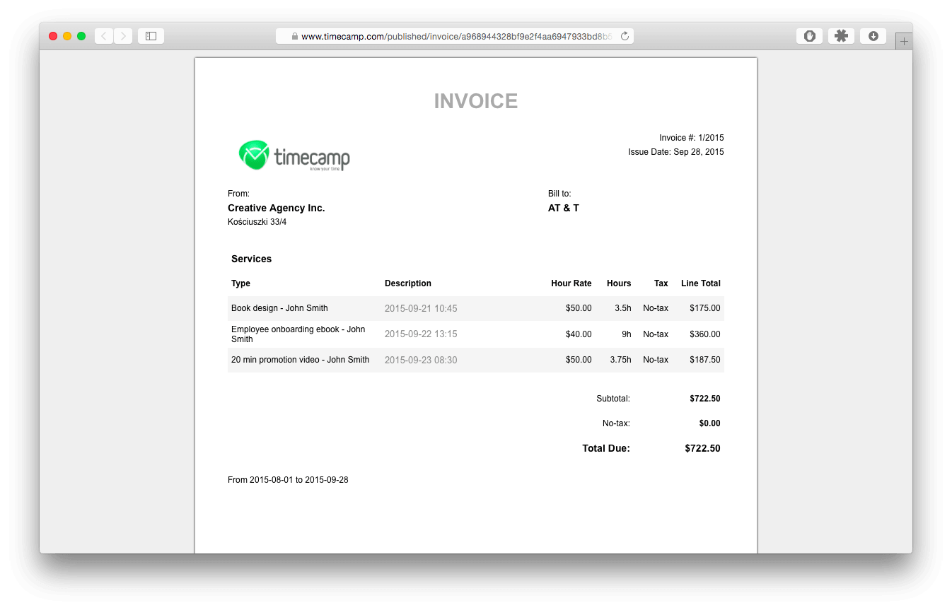 automatic invoice based on hours